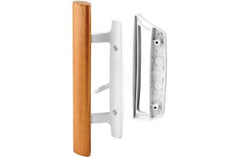 """(White) - Prime-Line C 1204 Sliding Glass Door Handle Set – Replace Old or Damaged Door Handles Quickly and Easily – White Diecast, Mortise/Hook Style (Fits 3-15/16"""" Hole Spacing)"""