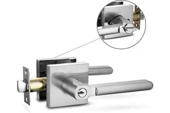 (Entry [lock with keys], Brushed Nickel) - Berlin Modisch Entry Lever Door Handle Lock and Key Slim Square Locking Lever Set [for Front Door or Office] Reversible for Right & Left Sided Doors Heavy Duty – Satin Nickel Finish