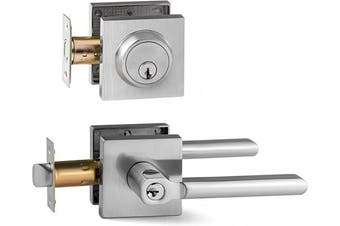 (Entry & Deadbolt Combo [Keyed Alike], Brushed Nickel) - Berlin Modisch Entry Lever Door Handle and Single Cylinder Deadbolt Lock and Key Slim Square Locking Lever Handle Set [Front Door or Office] Right & Left Sided Doors Heavy Duty – Satin Nickel Finish