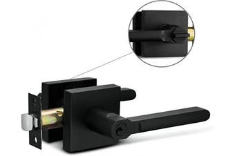(Entry [lock with keys], Iron Black) - Berlin Modisch Entry Lever Door Handle Lock and Key Slim Square Locking Lever Set [for Front Door or Office] Reversible for Right & Left Sided Doors Heavy Duty – Iron Black Finish