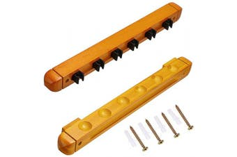 (Yellow) - OwnMy Billiard Cue Rack 6 Cues Wall Mount Mahogany Finish Hardwood Pool Cue Rack with Cue Clips