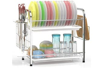 (304 H Silver) - Dish Drying Rack, Veckle 2 Tier Dish Rack 304 Stainless Steel Utensil Holder Cutting Board Holder Dish Drainer with Removable Drain Boards for Kitchen Countertop, Silver