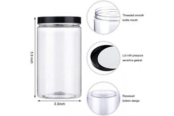 4 Pieces 740ml Empty Plastic Jars with Lids Clear Plastic Storage Jars Large Round Plastic Cans Containers for Cereals Kitchen and Home Storage DIY Supplies