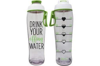 (710ml, Effing) - 50 Strong BPA Free Reusable Water Bottle with Time Marker - Motivational Fitness Bottles - Hours Marked - Drink More Water Daily - Tracker Helps You Drink Water All Day -Made in USA