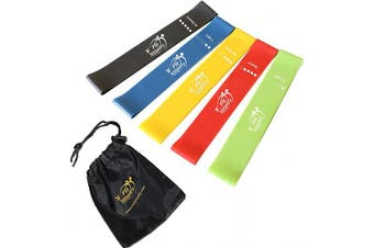 (Green, Blue, Yellow, Red, Black) - Fit Simplify Resistance Loop Exercise Bands for Home Fitness, Stretching, Strength Training, Physical Therapy, Workout Bands, Pilates Flexbands, Set of 5
