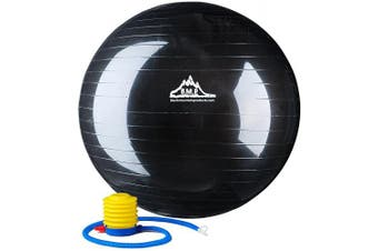 (45 cm, Black) - Black Mountain Products 910kg Static Strength Exercise Stability Ball with Pump