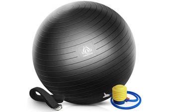 (Diameter: 50-55cm, Black Yoga Ball + Black Stretch Strap) - Forbidden Road Exercise Yoga Ball (4 Size, 4 Colours) 90kg Slip-Resistant Yoga Balance Stability Swiss Ball