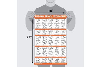 (46cm  x 70cm , LAMINATED) - QuickFit Sliding Bench Workout Poster - Compatible with Total Gym, Weider Ultimate Body Works - Incline Bench Exercise Chart