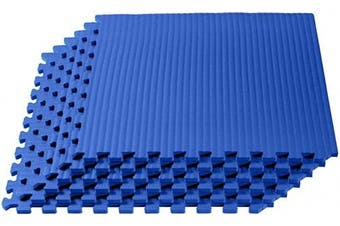 (2.2sqm (6 Tiles), Blue) - Velotas 1.3cm Thick EVA Foam Martial Arts Mat, Tatami Pattern, Interlocking Floor Tiles for Home Gym, MMA, Anti-Fatigue Mats, 60cm x 60cm
