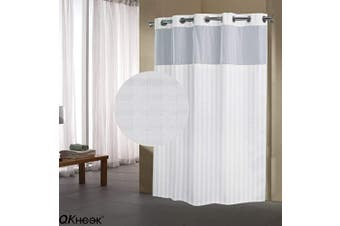 (1 Pack, 180cm  x 200cm , Herringbone) - QKHOOK Shower Curtain with Snap in Liner 1 Pack 180cm x 200cm Herringbone Pattern Fabric Water Resistant