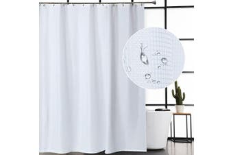 (72Wx72L, White) - CAROMIO White Shower Curtain Fabric, Waffle Weave Polyester Fabric Shower Curtain for Bathroom with Grommet Top Design Washable, White, 180cm x 180cm
