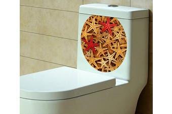 (33cm  x 39cm , Many Starfish) - BIBITIME Beautiful Starfishes Bathroom Toilet Seat Cover Decals Sticker Toilet Lid Vinyl Starfish Decor Decal 33cm x 39cm