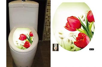 (33cm  x 39cm , Red Tulips) - BIBITIME Red Tulips Decals Bathroom Toilet Seat Cover Sticker Vinyl Toilet Lid Decal Decor 33cm x 39cm