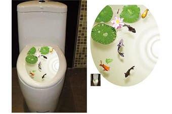 (33cm  x 39cm , Lotus Flower Carps) - BIBITIME Bathroom Toilet Seat Cover Decals Sticker Vinyl Toilet Lid Decal Decor (33cm x 39cm , Lotus Flower Carps Fish)
