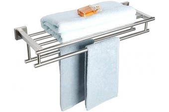 (600mm/24-Inch, Brushed Nickel) - Alise GZ8000-LS Bathroom Lavatory Towel Rack Towel Shelf with Two Towel Bars Wall Mount Holder,60cm SUS 304 Stainless Steel Brushed Nickel