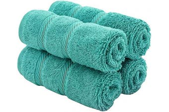 (Washcloth - Set of 4, Turquoise Blue) - American Soft Linen Premium Turkish Genuine Cotton, Luxury Hotel Quality for Maximum Softness & Absorbency for Face, Hand, Kitchen & Cleaning (4-Piece Washcloth Set, Turquoise Blue)