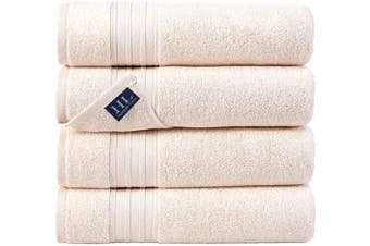 (70cm  x 140cm  4 Piece Set Bath Towels, Sea Salt) - Hammam Linen 100% Cotton 27x54 4 Piece Set Bath Towels Sea Salt Super Soft, Fluffy, and Absorbent, Premium Quality Perfect for Daily Use 100% Cotton Towels