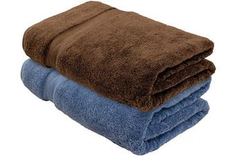 (2, Chocolate + Blue) - Cotton & Calm Exquisitely Plush and Soft Extra Large Bath Towels (Set of 2,1 Blue & 1 Chocolate, 90cm x 180cm ) Premium 100% Combed Cotton Oversized Luxury Bath Sheets, Pool Towels, Beach Towels
