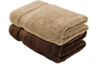 (2, Beige + Chocolate) - Cotton & Calm Exquisitely Plush and Soft Extra Large Bath Towels (Set of 2,1 Beige & 1 Chocolate, 90cm x 180cm ) Premium 100% Combed Cotton Oversized Luxury Bath Sheets, Pool Towels, Beach Towels