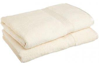 (Ivory) - Superior 100% Egyptian Cotton Solid Bath Sheet Set, Ivory, 2-Piece