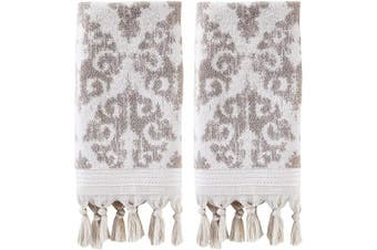 (Hand Towels, Taupe, Set of 2) - SKL Home by Saturday Knight Ltd. Mirage Fringe 2 Pc Hand Towel Set, Taupe