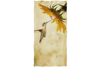 (Vintage Hummingbird Sunflower) - Naanle Vintage Hummingbird with Sunflower On Retro Old Paper Soft Bath Towel Absorbent Hand Towels Multipurpose for Bathroom Hotel Gym and Spa 80cm x 38cm