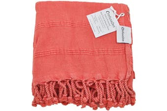 (Coral) - InfuseZen Stonewashed Coral Turkish Towel Extra Large - Thin Absorbent Bath Towel, Beach Towel and Pool Towel, Large Cotton Stone Washed Peshtemal Towels Weaved in Turkey, Hammam Spa Towel (Coral)