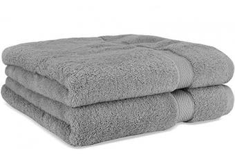 (2-Piece, Gray) - Cosy Homery Luxury Egyptian Cotton Bath Towels | Large 55 X 28'' Ultra Soft & Highly Absorbent Luxury Bath Towel Set | 650 GSM Hotel Spa Quality Bath Sheets | 2 Piece