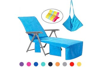(Sly Blue) - VOCOOL Chaise Lounge Pool Chair Cover Beach Towel Fitted Elastic Pocket Won't Slide (Sly Blue)