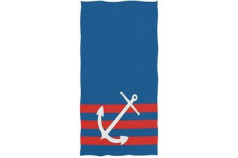 (Anchor) - Naanle Nautical Anchor Blue Red Stripe Highly Absorbent Soft Large Decorative Guest Hand Towel for Bathroom, Hotel, Gym and Spa (41cm x 80cm ,Blue)