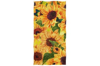 (Sunflowers) - Naanle Chic Vibrant Yellow Sunflower Butterflies Soft Large Decorative Eco-Friendly Hand Towels Bath Towel Multipurpose for Bathroom, Hotel, Gym and Spa (41cm x 80cm ,Floral)