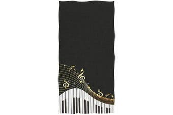 (Piano Keyboard) - Naanle Fashion Piano Keys and Musical Notes Print Soft Highly Absorbent Large Decorative Hand Towels Multipurpose for Bathroom, Hotel, Gym and Spa (41cm x 80cm ,Black White)