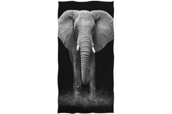 (Elephant) - Naanle 3D Lifelike Cool Elephant Print Soft Highly Absorbent Large Decorative Hand Towels Multipurpose for Bathroom, Hotel, Gym and Spa (41cm x 80cm ,Black)