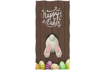 (###Easter Rabbit) - Naanle Cute Bunny Easter Eggs Wooden Print Happy Easter Soft Absorbent Guest Hand Towels for Bathroom, Hotel, Gym and Spa (41cm x 80cm ,Brown)