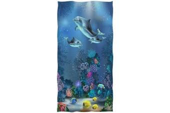 (Dolphin) - Naanle Beautiful Underwater World Dolphins Coral Print Soft Highly Absorbent Large Decorative Hand Towels Multipurpose for Bathroom, Hotel, Gym and Spa (41cm x 80cm )