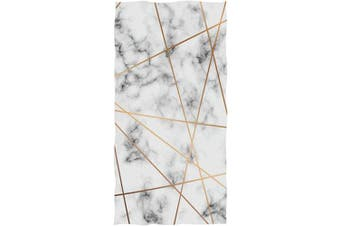 Wamika Marbling Texture Print Hand Towels Golden Lines White Marble Bath Towel Ultra Soft Highly Absorbent Multipurpose Bathroom Towel for Hand Face Gym Sports Spa Home Decor, 41cm x 80cm