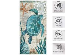(Turtle) - Pfrewn Sea Turtle Starfish Retro Map Hand Towels 41cm x 80cm Fish Scale Thin Bathroom Towel, Ultra Soft Highly Absorbent Small Bath Towel Bathroom Decor Gifts