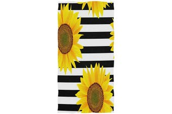 (Sunflower) - AGONA Sunflowers On Striped Black White Hand Towels Absorbent Soft Face Towels Large Decorative Bath Towels Multipurpose for Bathroom Kitchen Gym Yoga 80cm x 38cm