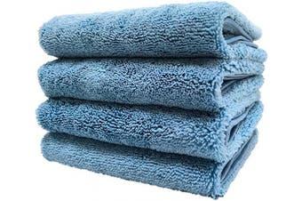 (Blue) - Polyte Quick Dry Lint Free Microfiber Hand Towel, 41cm x 80cm , Set of 4 (Blue)