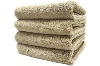 (Beige) - Polyte Quick Dry Lint Free Microfiber Hand Towel, 41cm x 80cm , Set of 4 (Beige)