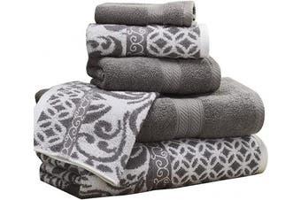 (Platinum) - Amrapur Overseas | Trefoil Filigree 6 Piece Reversible Yarn Dyed Jacquard Towel Set (Platinum)