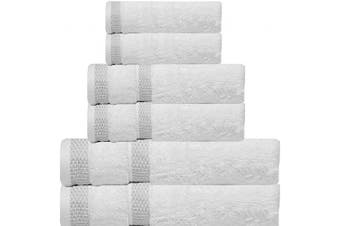 (6 Pcs set, Snow White-a) - CASA COPENHAGEN Solitaire Egyptian Cotton 520ml Thick Bath, Hand and Washcloth/Face Towels Set (White) 6 Pieces