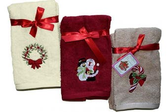 (Santa Collection) - Decorative Luxury Hand Towel Set - 6 Piece Set - Embroidered Holiday Design on Turkish Quality Cotton, 600 GSM (Santa Collection)