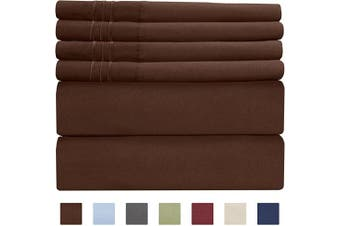 (Full, Brown) - Extra Deep Pocket Sheets - 6 Piece Sheet Set - Full Sheets Deep Pocket - Extra Deep Pocket Full Sheets - Deep Fitted Sheet Set - Extra Deep Pocket Full Size Sheets - Easily Fits Extra Deep Mattresses