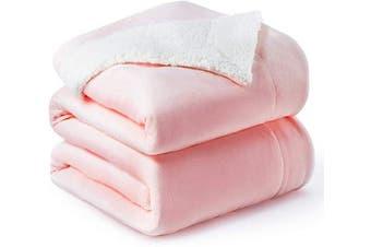 (Queen(230cm  x 230cm ), Pink) - Bedsure Sherpa Fleece Blanket Queen Size Pink Plush Throw Blanket Fuzzy Soft Blanket Microfiber