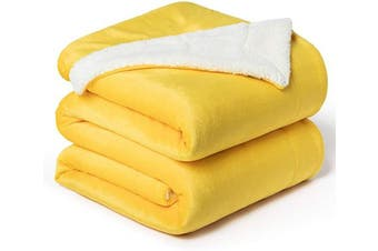 (King(270cm  x 230cm ), Yellow) - Bedsure Sherpa Fleece Blanket King Size Yellow Gold Plush Blanket Fuzzy Soft Blanket Microfiber