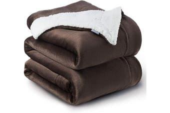 (Queen(230cm  x 230cm ), Brown) - Bedsure Sherpa Fleece Blanket Queen Size Brown Plush Throw Blanket Fuzzy Soft Blanket Microfiber