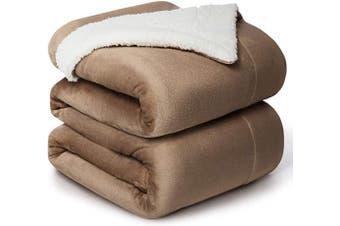 (Queen(230cm  x 230cm ), Camel) - Bedsure Sherpa Fleece Blanket Queen Size Camel Plush Throw Blanket Fuzzy Soft Blanket Microfiber