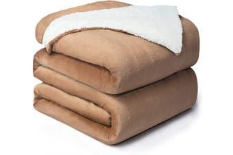 (Queen(230cm  x 230cm ), Taupe) - Bedsure Sherpa Fleece Blanket Queen Size Taupe Plush Blanket Fuzzy Soft Blanket Microfiber