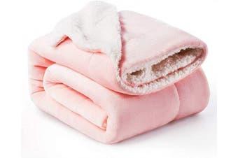 (Throw(130cm  x 150cm ), Pink) - Bedsure Sherpa Fleece Blanket Throw Size Pink Plush Throw Blanket Fuzzy Soft Blanket Microfiber